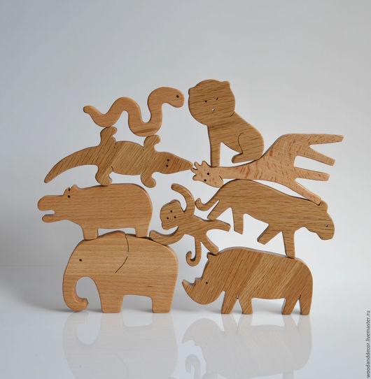 Игрушки животные, ручной работы. Ярмарка Мастеров - ручная работа. Купить Игрушки из бука Экзотические животные (жираф, слон, бегемот... - 9шт). Handmade.
