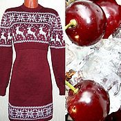 Одежда ручной работы. Ярмарка Мастеров - ручная работа Платье вязаное для кормления Снежный олень (норвежский орнамент). Handmade.