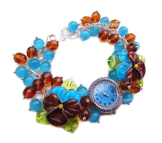 """Часы ручной работы. Ярмарка Мастеров - ручная работа. Купить """"Небо и земля"""" наручные часы с бусинами лэмпворк. Handmade. Часы"""