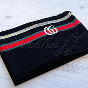 Аксессуары handmade. Livemaster - original item Black Italian knitted scarf made of Gucci fabric. Handmade.