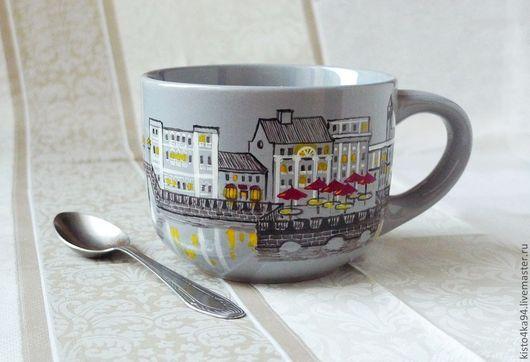 кружка большая чайная с росписью рисунок на кружке Санкт-Петербург шикарный подарок любимому любителю чая стильная чашка на уютную кухню подарок начальнику на память о Питере красивая чашка с росписью