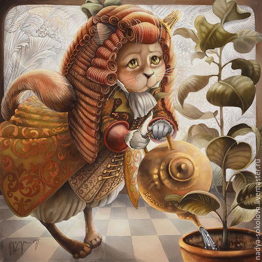Фантазийные сюжеты ручной работы. Ярмарка Мастеров - ручная работа. Купить Водолей. Handmade. Золотой, кот, чайник, искусственный шёлк