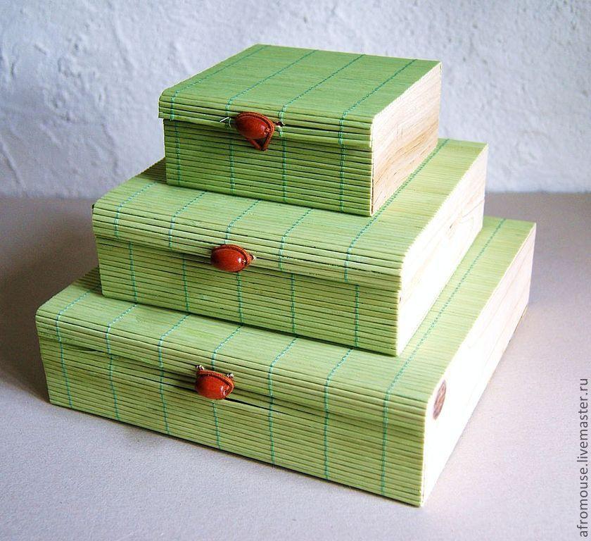 """коробочки """"Бамбук 15""""  зеленые, Фурнитура для кукол и игрушек, Москва,  Фото №1"""