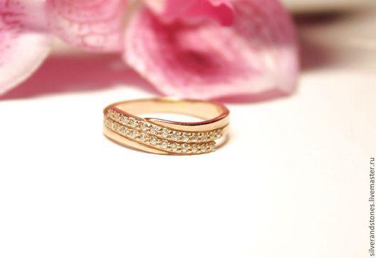 Кольца ручной работы. Ярмарка Мастеров - ручная работа. Купить Серебряное кольцо с цирконами и позолотой. Handmade. Золотой, кольцо с камнем