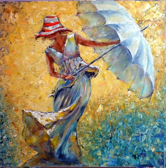 """Люди, ручной работы. Ярмарка Мастеров - ручная работа. Купить Картина маслом """"Девушка с зонтиком"""". Handmade. Комбинированный, мастихин"""