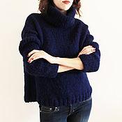 Одежда handmade. Livemaster - original item Women`s sweater knitted blue mohair. Handmade.