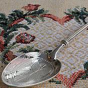 """Посуда ручной работы. Ярмарка Мастеров - ручная работа Серебряная чайная ложка """"Иней""""с гравированным черпалом. Ag925. Подарок. Handmade."""