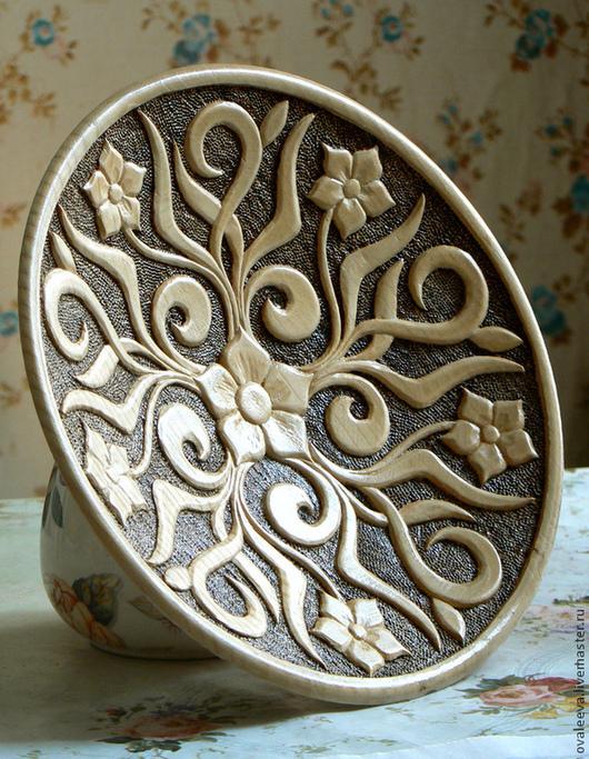 Декоративная посуда ручной работы. Ярмарка Мастеров - ручная работа. Купить Блюдо резное. Handmade. Желтый, Дерево кедр