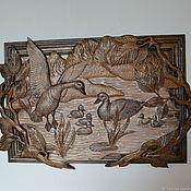 """Панно ручной работы. Ярмарка Мастеров - ручная работа Резное панно """"Утки на озере"""". Handmade."""