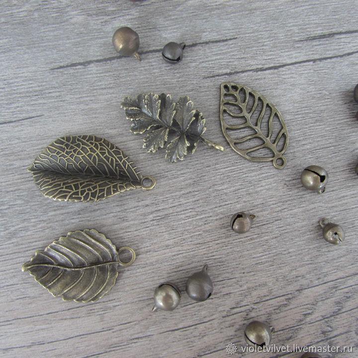 Подвеска в стиле винтаж, медная Листья, 4 вида