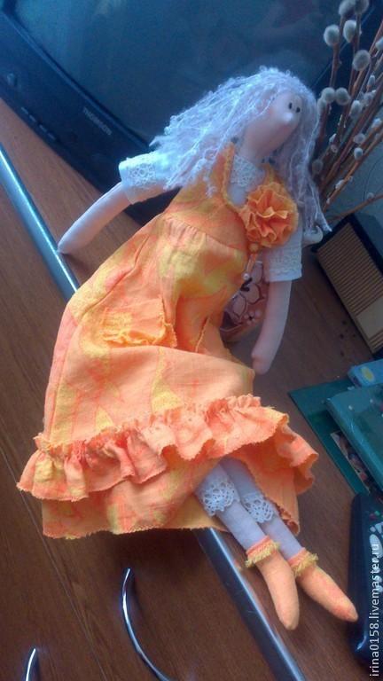 Куклы Тильды ручной работы. Ярмарка Мастеров - ручная работа. Купить тильда в сарафане. Handmade. Оранжевый, тильда кукла