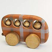 Куклы и игрушки ручной работы. Ярмарка Мастеров - ручная работа Автобус в клетку - деревянная игрушка. Handmade.