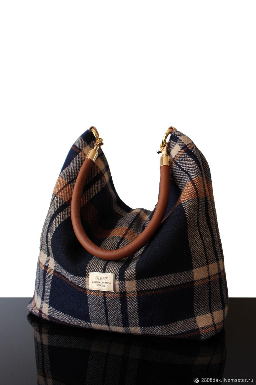 Bag: Blue Tweed Checked Hobo Bag, Large Bag, Sacks, Bordeaux,  Фото №1