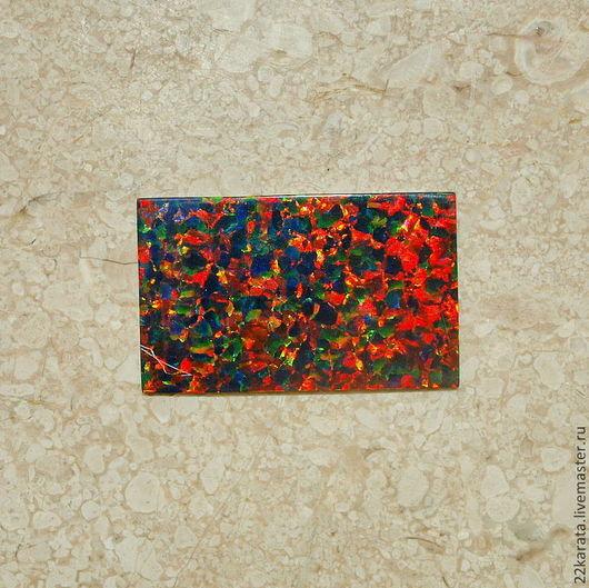 Для украшений ручной работы. Ярмарка Мастеров - ручная работа. Купить Опал пластина синтетический, темно-зеленый/оранжевый 28,5 х 17,5. Handmade.