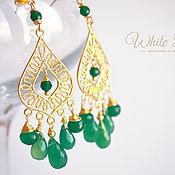 Украшения handmade. Livemaster - original item Large earrings, chandeliers, green onyx, gilding. Handmade.