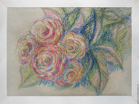 """Картины цветов ручной работы. Ярмарка Мастеров - ручная работа. Купить Картина цветов """"Розовые розы"""". Handmade. Картина, цветок"""