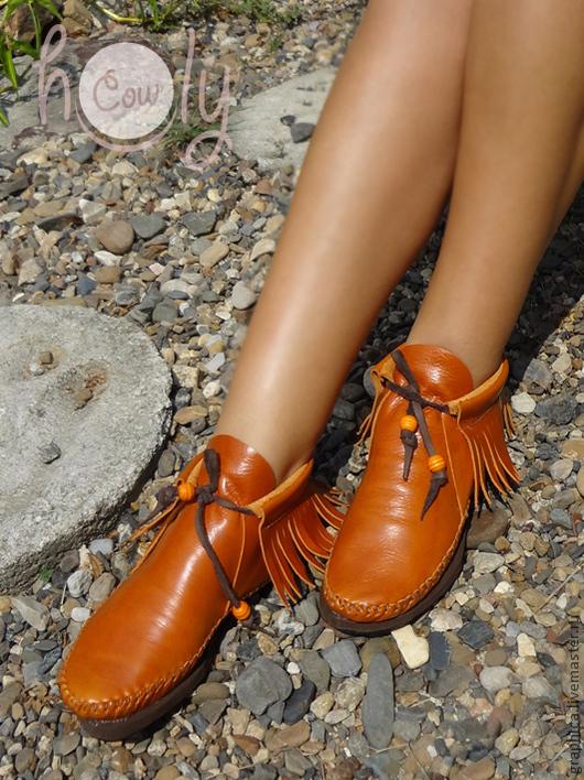 Обувь ручной работы. Ярмарка Мастеров - ручная работа. Купить Стильные кожаные ботиночки «Positive». Handmade. Рыжий, ботинки из кожи