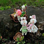 Куклы и игрушки ручной работы. Ярмарка Мастеров - ручная работа Сладкая парочка. Тедди зайки. Handmade.