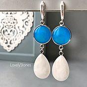 Украшения handmade. Livemaster - original item Earrings with turquoise agate and white quartz on locks silver. Handmade.