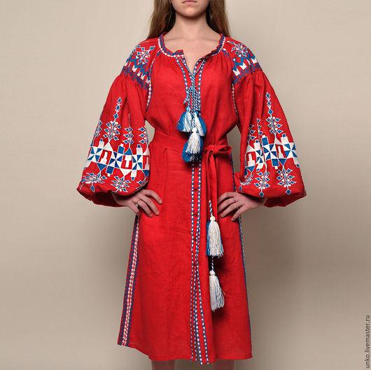 """Платья ручной работы. Ярмарка Мастеров - ручная работа. Купить Этническое платье""""ТРЕМБИТА"""". Handmade. Ярко-красный, ручная"""