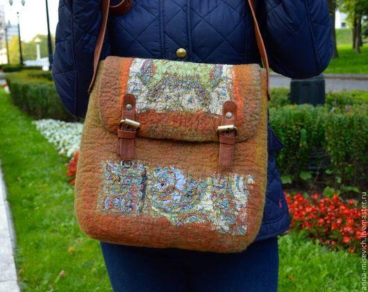 Женские сумки ручной работы. Ярмарка Мастеров - ручная работа. Купить Сумка-портфель. Handmade. Оливковый, сумка на каждый день