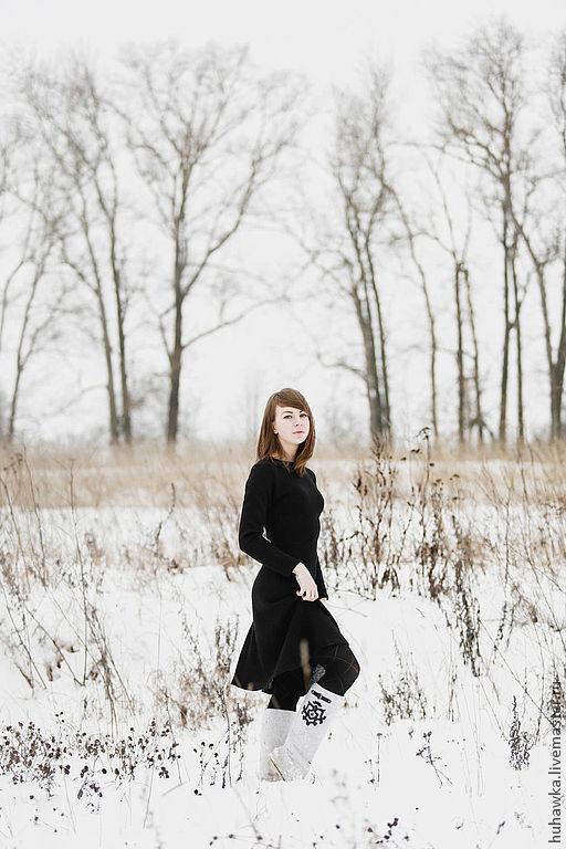 """Платья ручной работы. Ярмарка Мастеров - ручная работа. Купить Платье вязаное женское """"НЕДОТРОГА"""". Handmade. Черный, Платье нарядное"""
