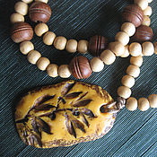 Украшения handmade. Livemaster - original item Sandalwood beads with original pendant