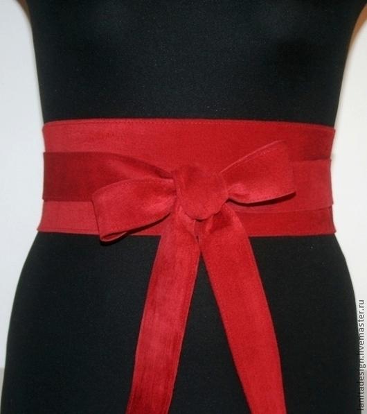 """Пояса, ремни ручной работы Lanita Design. Пояс кушак из замши """"Red Romantic""""."""