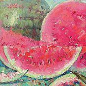 Картины и панно ручной работы. Ярмарка Мастеров - ручная работа картина Сладка ягодка  арбуз холст масло. Handmade.