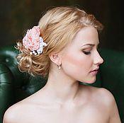 Украшения ручной работы. Ярмарка Мастеров - ручная работа Гребень с цветами из шифона, гребень для невесты. Handmade.
