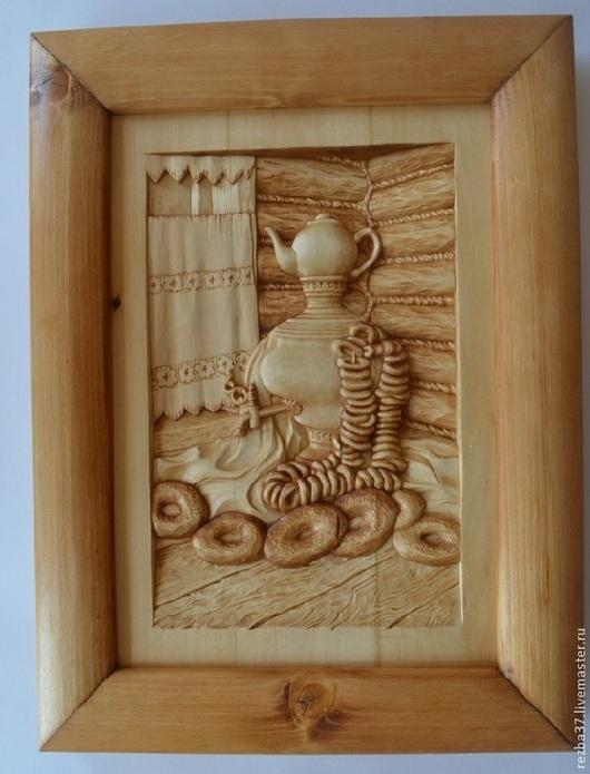 Натюрморт ручной работы. Ярмарка Мастеров - ручная работа. Купить Самовар с баранками и бубликами. Handmade. Резная картина из дерева