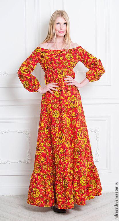 """Платья ручной работы. Ярмарка Мастеров - ручная работа. Купить Платье """"Русские узоры"""" красное. Handmade. Ярко-красный"""