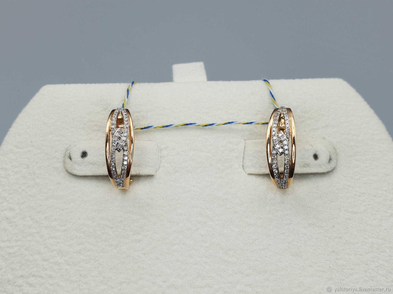 Gold diamond earrings 0,209 ct, Earrings, Moscow,  Фото №1