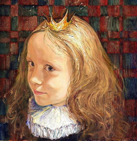 Люди, ручной работы. Ярмарка Мастеров - ручная работа. Купить маленькая принцесса. Handmade. Портрет, портрет на заказ, портрет по фото