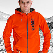 Мужская одежда handmade. Livemaster - original item Orange hoodie, bright men`s hoodie with zipper. Handmade.