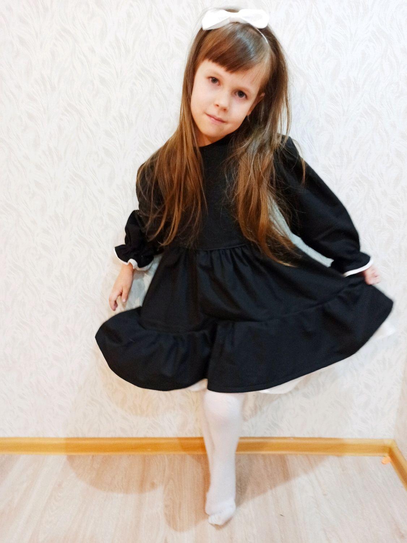 Платье с воланом в черном цвете, Платье, Гуково,  Фото №1