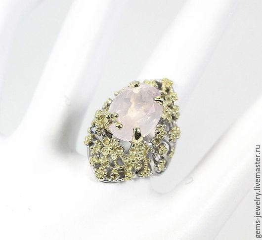 Кольца ручной работы. Ярмарка Мастеров - ручная работа. Купить Утонченное кольцо с натуральным розовым кварцем. Handmade. Розовый кварц