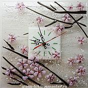 """Для дома и интерьера ручной работы. Ярмарка Мастеров - ручная работа Часы """"Сакура"""".Фьюзинг.. Handmade."""