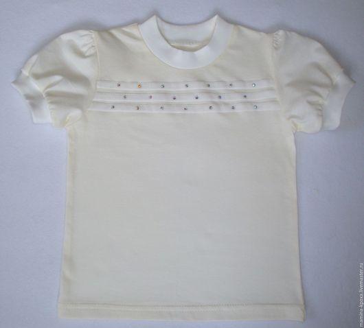 Одежда для девочек, ручной работы. Ярмарка Мастеров - ручная работа. Купить Футболка для девочки. Handmade. Кремовый, блузка с коротким рукавом