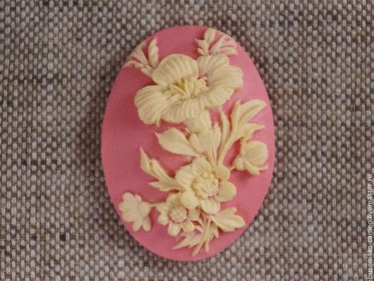 Для украшений ручной работы. Ярмарка Мастеров - ручная работа. Купить Камея Гибискус на розовом, 30х40мм (пластик) 1шт.. Handmade.