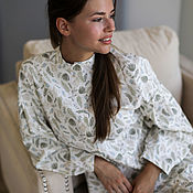 Одежда handmade. Livemaster - original item Linen dress Lyudmila milky color, print-river pa. Handmade.