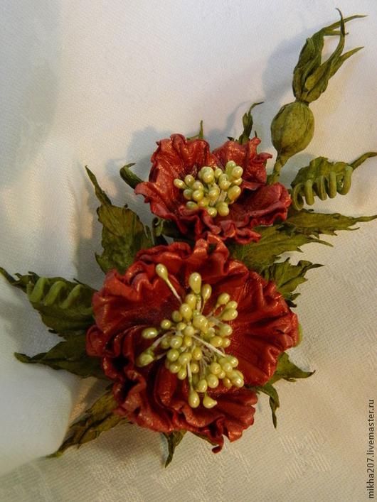 """Цветы ручной работы. Ярмарка Мастеров - ручная работа. Купить Брошь-бутоньерка """"Коралловый шиповник"""". Handmade. Коралловый, цветок-брошь"""
