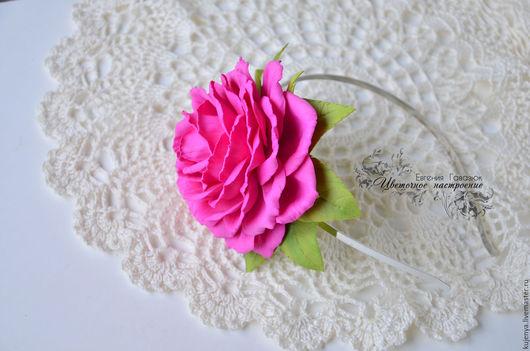 """Диадемы, обручи ручной работы. Ярмарка Мастеров - ручная работа. Купить Ободок с розой """"Малиновый"""". Handmade. Фуксия, обруч с цветами"""