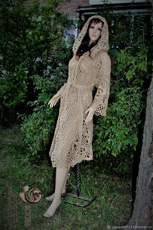 Knitted coat. hooded. in the fall. of jute.Boho, Coats, Kaluga,  Фото №1