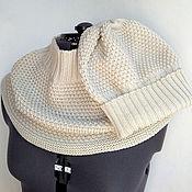 """Аксессуары ручной работы. Ярмарка Мастеров - ручная работа комплект """"Natural pearl"""" шапка -берет с объёмным снудом. Handmade."""