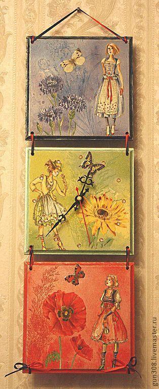 """Часы для дома ручной работы. Ярмарка Мастеров - ручная работа. Купить Часы-панно настенные """"Мои подруги - три цвета дружбы"""". Handmade."""