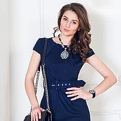 Одежда ручной работы. Ярмарка Мастеров - ручная работа Последний р-р!Синее офисное платье с поясом. Handmade.