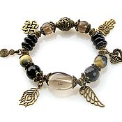 Украшения handmade. Livemaster - original item B8 Bracelet with black agate and Topaz. Handmade.