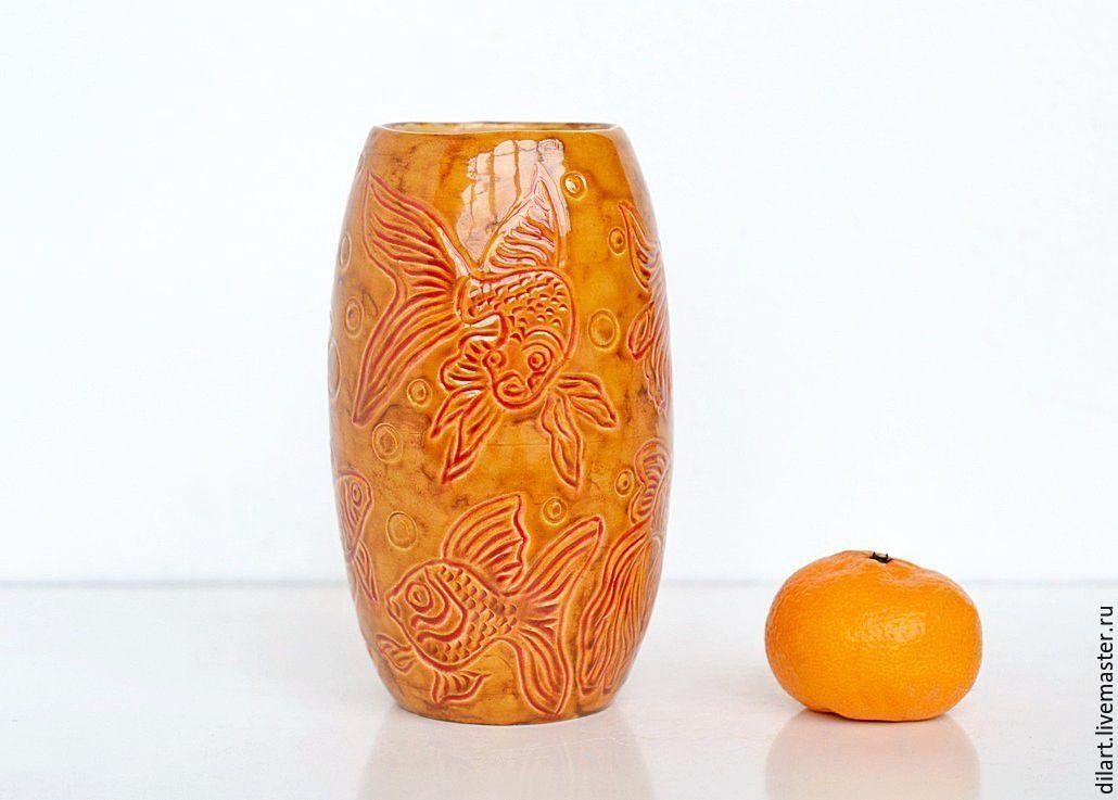 Керамическая ваза Золотые рыбки, Вазы, Москва,  Фото №1