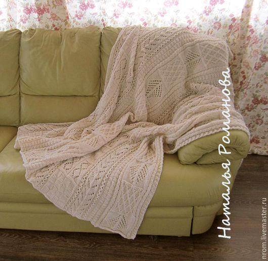 Текстиль, ковры ручной работы. Ярмарка Мастеров - ручная работа. Купить Роскошный плед. Handmade. Белый, плед спицами, шерсть